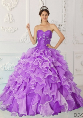 Princess Sweetheart Organza Ruffles and Beading for Lilac Quinceanera Dress
