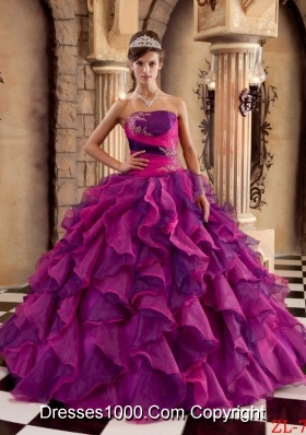 Ball Gown Strapless Organza Ruffles Dresses Quinceanera