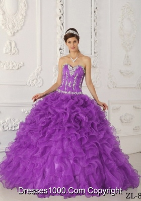 Ball Gown Sweetheart Organza Appliques Quinceanera Dresses Gowns