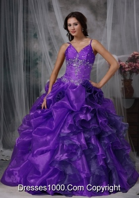 Discount Purple Puffy Straps with Ruffles and Beading for 2014 Quinceanera Dress