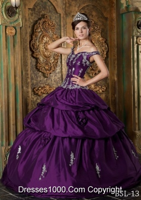 Eggplant Purple Ball Gown Off The Shoulder Quinceanera Dress with Appliques