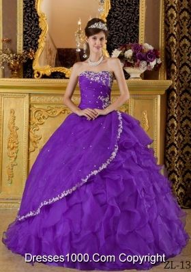Eggplant Purple Ball Gown Strapless Quinceanera Dress with Appliques