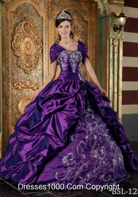 Eggplant Purple Ball Gown Strapless Quinceanera Dress with Pick-ups and Embroidery