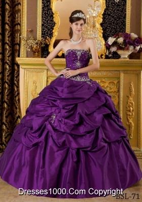 Eggplant Purple Ball Gown Strapless Taffeta Appliques Quinceanera Dress