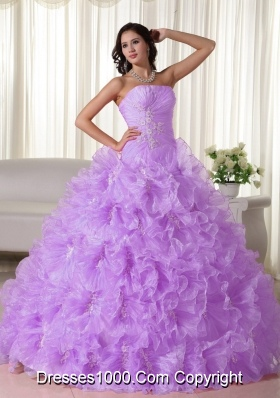 Lilac Strapless Organza Appliques and Ruffles Sweet Sixteen Dresses