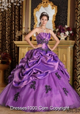 Princess Strapless Sweet 16 Dresses with Appliques and Pick-ups