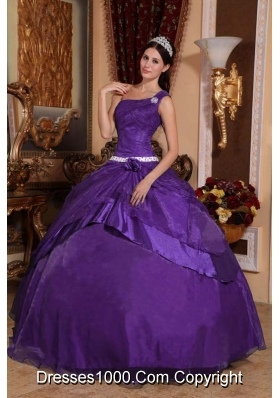 Purple Ball Gown One Shoulder Quinceanera Dress with Beading and Hand Made Flower