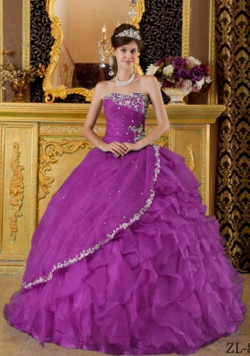 Purple Ball Gown Strapless Organza Appliques Quinceanera Dresses Gowns with Ruffles