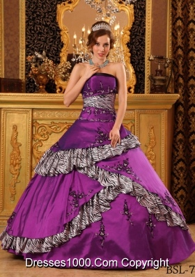 Purple Ball Gown Strapless Quinceanera Dress with Embroidery