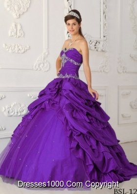Purple Princess Sweetheart Pick-ups Appliques Quinceanera Dress