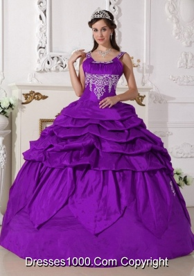 2014 Sweet Purple Puffy Scoop Beading Quinceanera Dress with Pick-ups