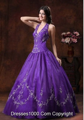 Beautiful Princess Halter Quinceanera Dresses With Embroidery Decorate Organza In 2014