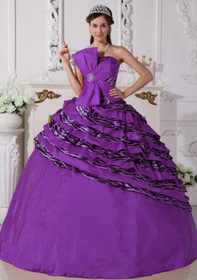 Brand New Purple Puffy Strapless with Beading for 2014 Quinceanera Dress