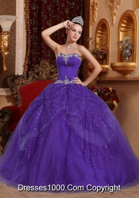 Eggplant Purple Ball Gown Sweetheart Quinceanera Dress with Beading and Appliques