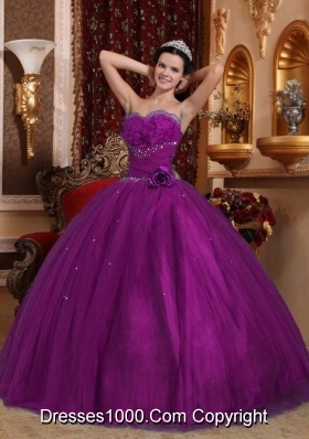 Elegant Eggplant Purple Puffy Sweetheart with Hand Made Flower Beading for 2014 Quinceanera Dress