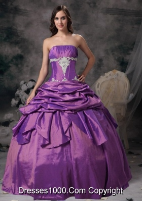 Lovely Purple Strapless with Pick-ups and Appliques Quinceanera Dresses for 2014