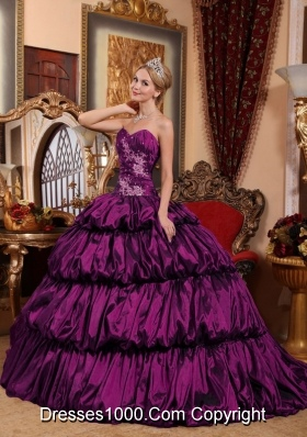 New Style Eggplant Purple Chapel Train with Appliques and Pick-ups Quinceanera Dress for 2014