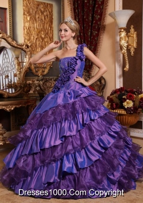 One Shoulder Quinceanera Dress with Hand Made Flowers and Ruffled Layers