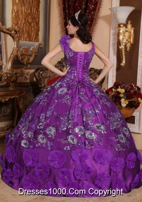 3a70c7ffa9d Perfect Purple Puffy V-neck with Beading and Appliques for 2014 Quinceanera  Dress