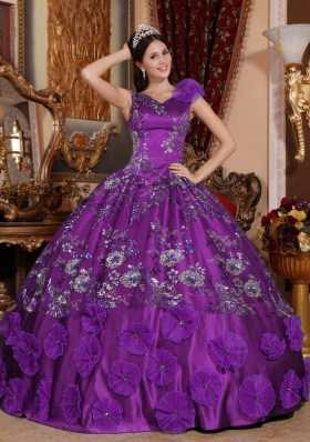 Perfect Purple Puffy V-neck with Beading and Appliques for 2014 Quinceanera Dress