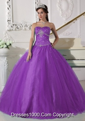 Petty Purple Puffy Strapless Beading and Ruching Quinceanera Dress for 2014