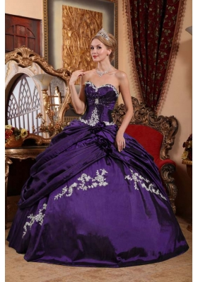 Purple Ball Gown Sweetheart Hand Made Flower Appliques Sweet 16 Dresses