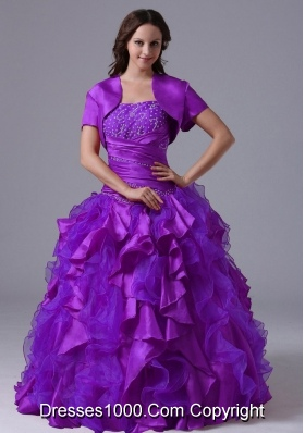 Purple Puffy Strapless with Appliques and Ruffles for 2014 Quinceanera Dress