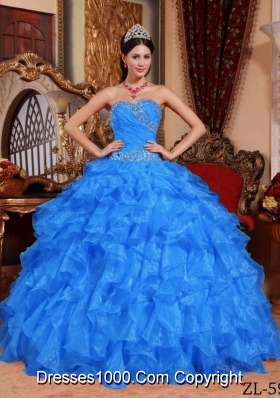 2014 Blue Puffy Sweetheart Beading Quinceanera Dress with Ruffles