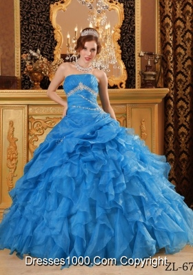 2014 Exquisite Teal Puffy Quinceanera Dress with Beading And Ruffles