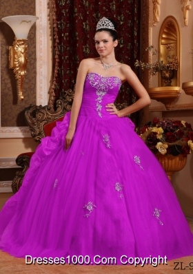 Elegant Sweetheart Organza Quinceanera Dress with Appliques and Pick-ups