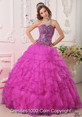 Fuchsia Ball Gown Sweetheart Floor-length Organza Beading Quinceanera Dress