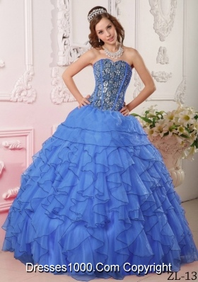 Modest Blue Ball Gown Sweetheart For 2014 Quinceanera Dress with Beading
