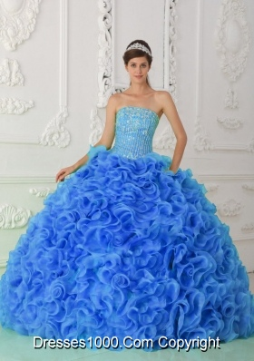 Organza Puffy Beaded for 2014 Royal Blue Quinceanera Dress with Strapless