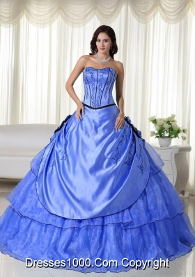2014 Blue Puffy Strapless Beading Quinceanera Dress with Appliques