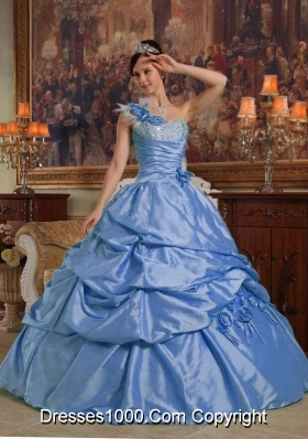 2014 Blue Quinceanera Dress Puffy One Shoulder with Hand Made Flowers and Beading