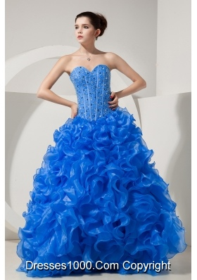 2014 Brand New Blue Quinceanera Dresses Princess Sweetheart with Beading