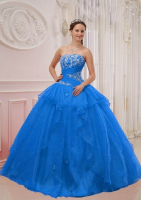 2014 Gorgeous Blue Puffy Strapless Appliques Quinceanera Dress with Beading