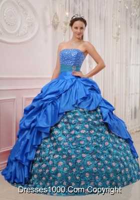 2014 Popular Blue Puffy Quinceanera Dress Strapless with Beading and Pick-ups