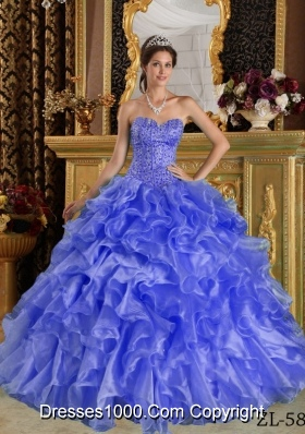 2014 Purple Puffy Sweetheart Ruffles Organza Quinceanera Dress with Beading