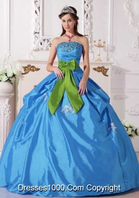 Aqua Puffy Gown Quinceanera Dress Strapless with Beading and Bow for 2014