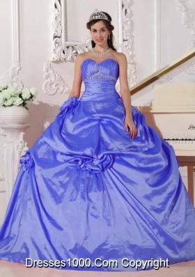 Blue Ball Gown Sweetheart for 2014 Quinceanera Dress with Beading and Hand Made Flowers