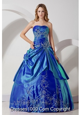 Discount Blue Puffy Strapless Embroidery for 2014 Quinceanera Dresses
