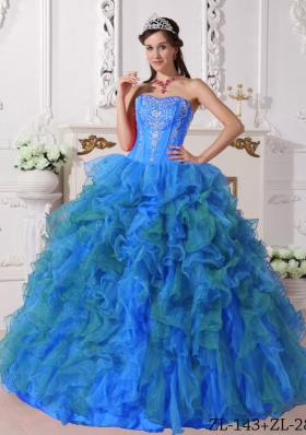 Elegant Blue Puffy Sweetheart Embroidery Quinceanera Dress For 2014