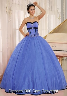 Fashionable Blue Sweetheart Qunceanera Dress With Beaded Decorate Organza for 2014