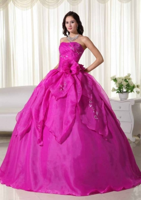 Fuchsia Strapless Organza Appliques and Hand Made Flowers Quinceanera Dress