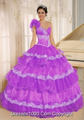 Hand Made Flowers Decorate One Shoulder Quinceanera Dress with Appliques