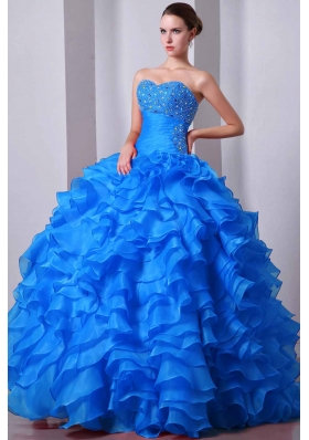 Quinceanea Dress in Aqua Blue Princess Sweetheart with Beading and Ruffles