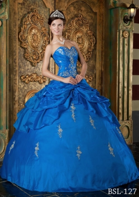 2014 Affordable Blue Puffy Sweetheart Appliques Quinceanera Dress with Beading