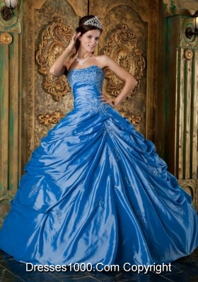 2014 Affordable Teal Puffy Strapless Appliques Quinceanera Dress