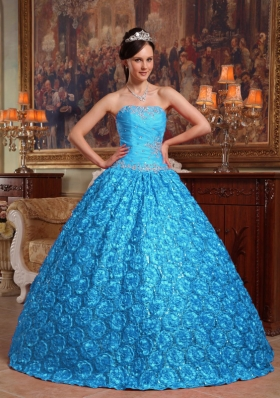 2014 Aqua Blue Puffy Strapless Roling Flowers Quinceanera Dress with Appliques 249.59